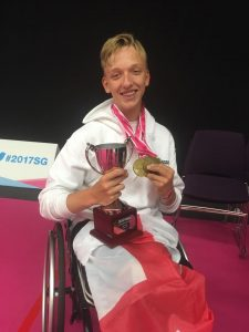 Josh Waddell with the School Games Cup and 3 Gold medals